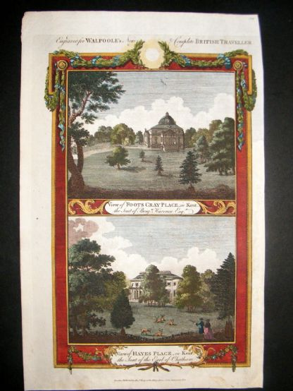 Walpoole British Traveller 1784 H/Col Print, Foots Cray & Hayes Palace, Kent, UK | Albion Prints